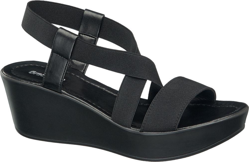 Siyah Dolgu Topuk Sandalet Graceland