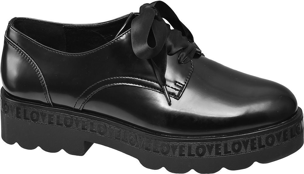 Black Chunky Ribbon Lace Shoes