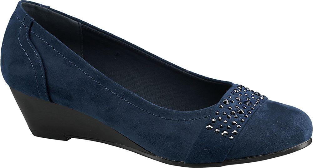 Czółenka damskie na koturnie Graceland niebieskie
