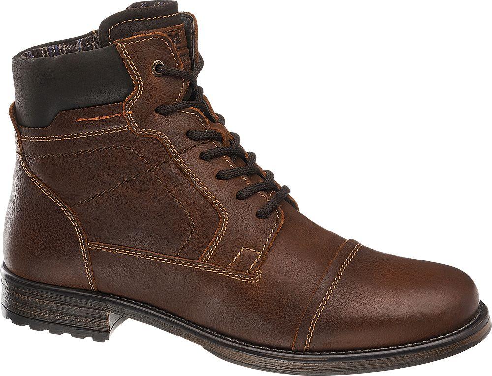 Deichmann - AM SHOE Hnědá kožená kotníková obuv AM Shoe se zipem 41 hnědá