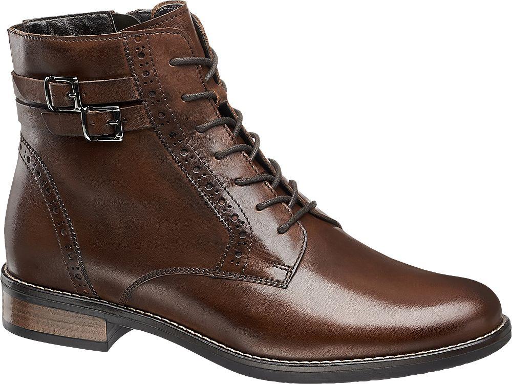 Deichmann - 5th Avenue Hnědá kožená šněrovací obuv 5th Avenue se zipem 37 hnědá