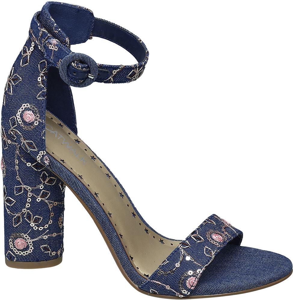 Sandałki na obcasie Catwalk niebieskie