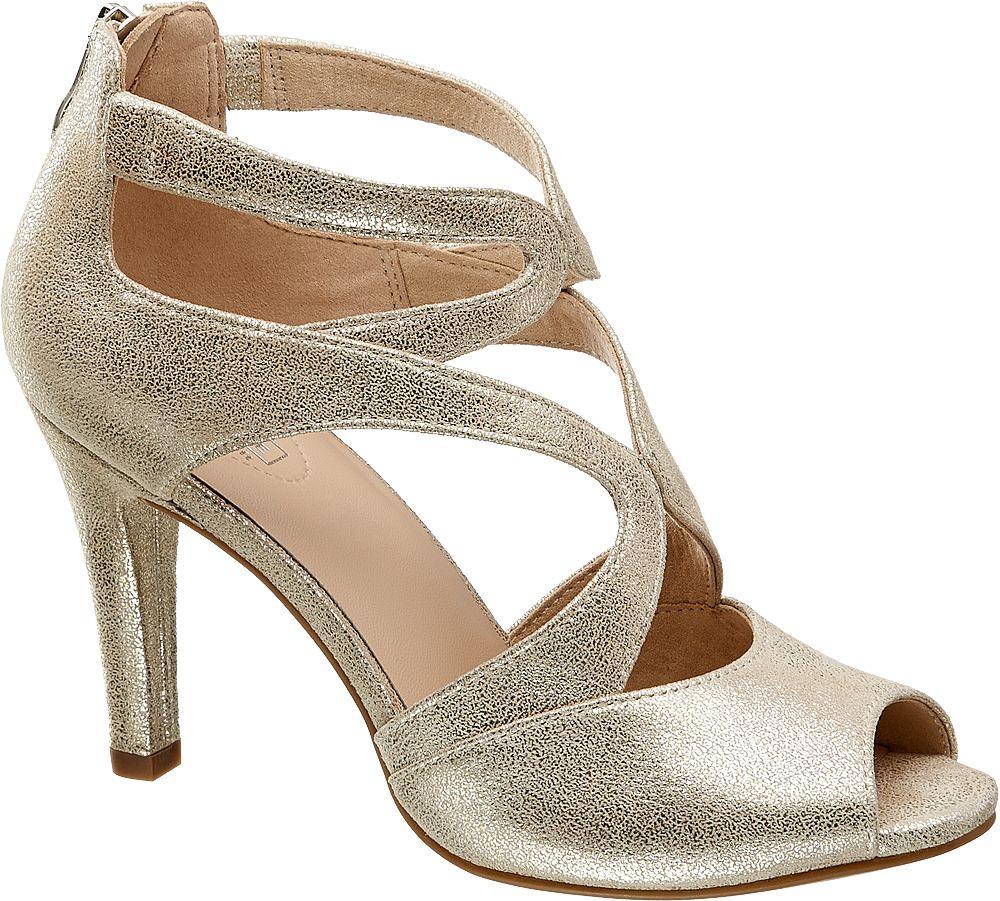 5th Avenue Kožené metalické sandály  stříbrná