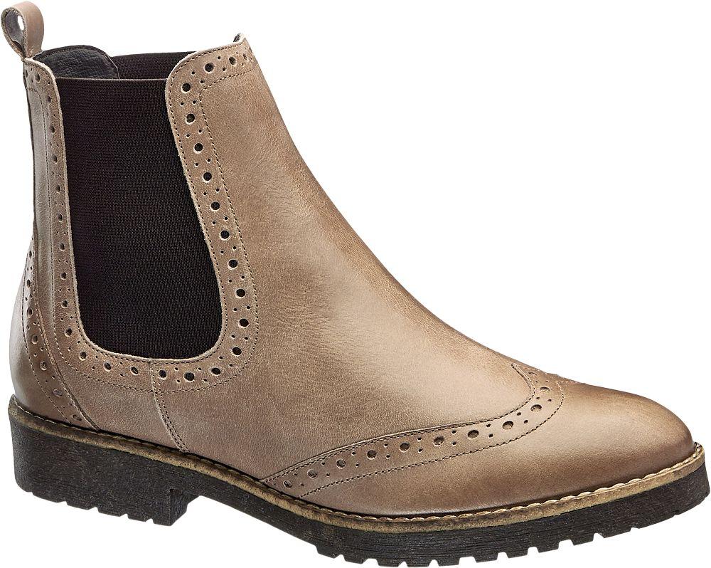Deichmann - 5th Avenue Kožená obuv Chelsea 40 šedobéžová