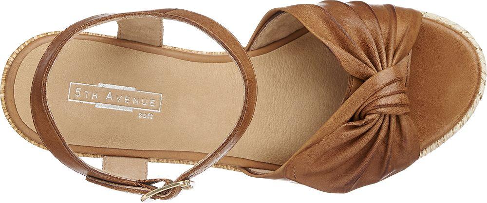5th Avenue Kožené sandály na klínku  hnědá