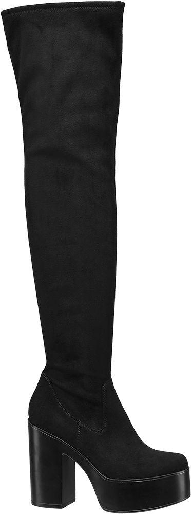 Deichmann - Graceland Kozačky nad kolena 36 černá