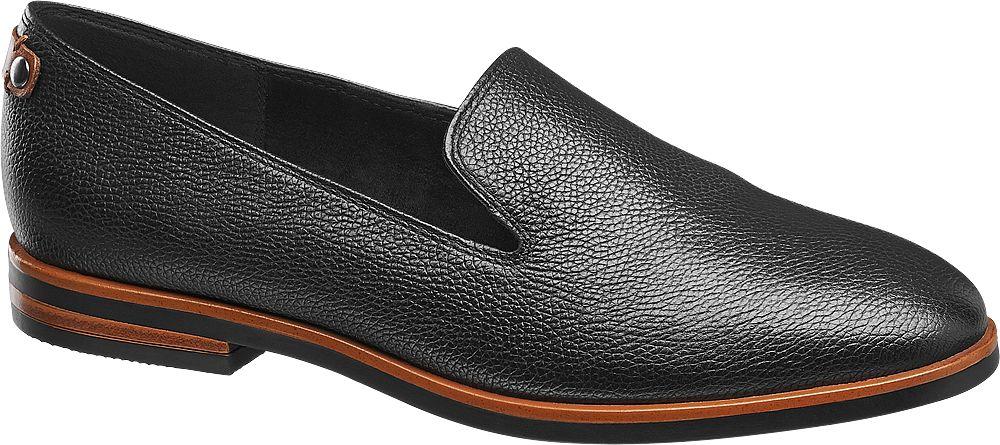 d51e97e458da  Der Loafer von 5th Avenue ist aus schwarzem Leder gefertigt dem die  markante Narbung eine