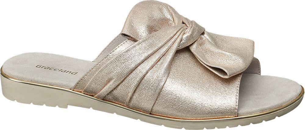 Graceland Metalické pantofle s mašlí  zlatá