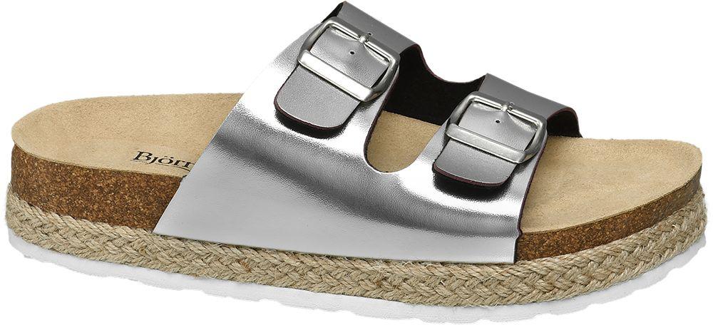 Björndal Metalické pantofle  stříbrná