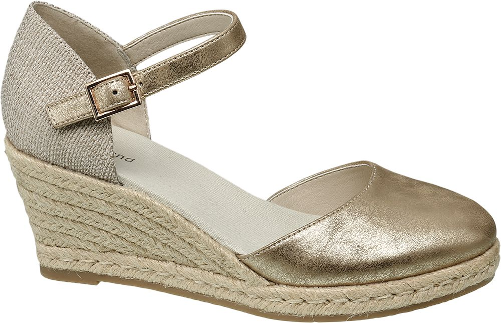 Deichmann - Graceland Metalické sandály na klínku 42 béžová 7a1f74d3ea