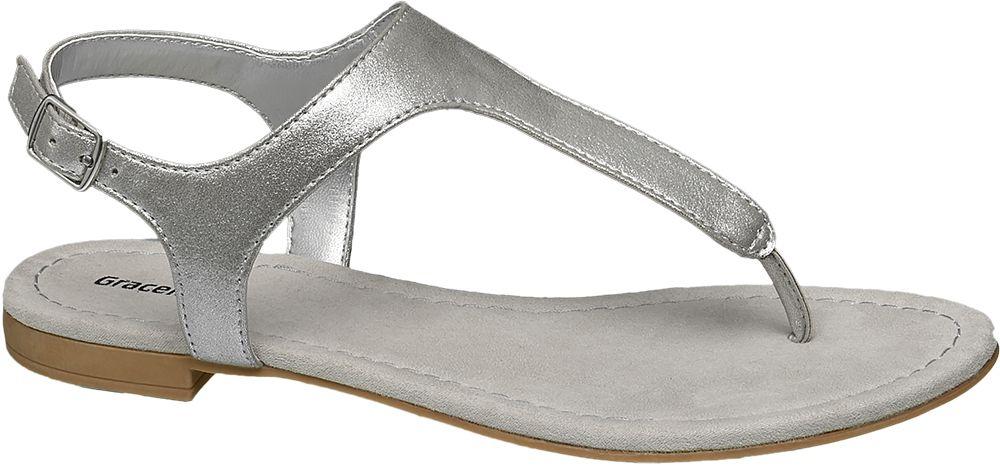 Graceland Metalické sandály  stříbrná