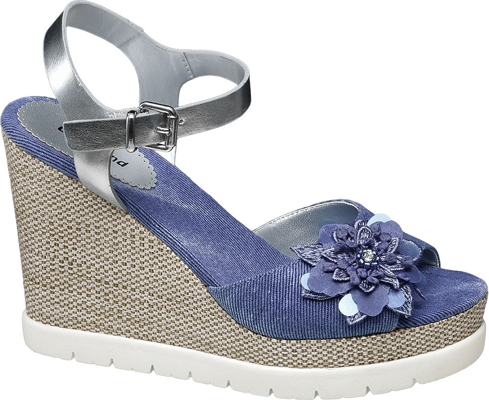 Sandały na koturnie Graceland niebieskie