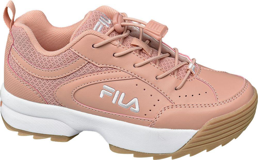 różowe sneakersy dziewczęce Fila na brązowej podeszwie