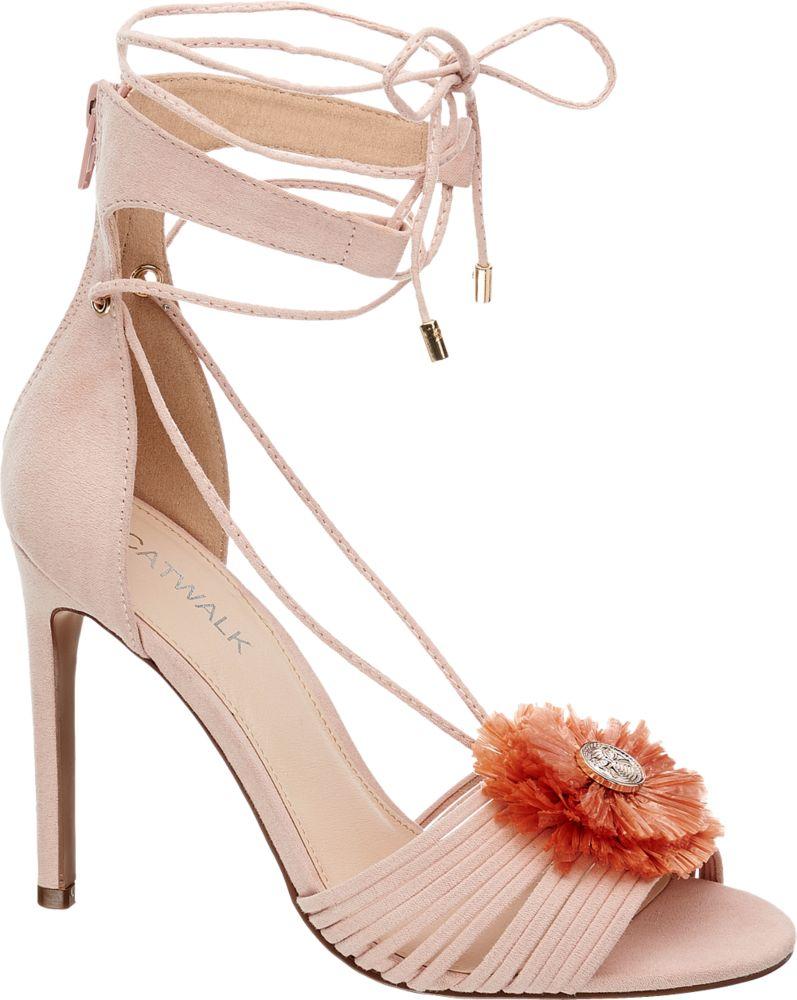 Sandałki na obcasie Catwalk różowe