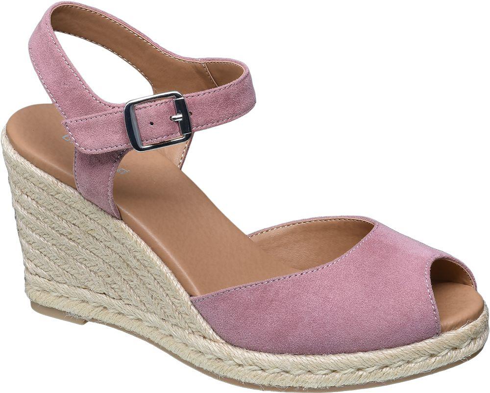 Sandały na koturnie Graceland różowe
