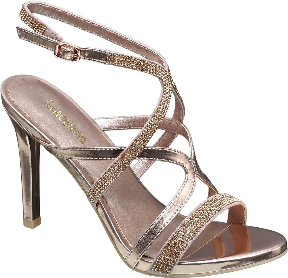 Sandały na obcasie Graceland złote