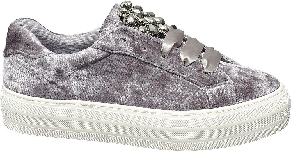 Graceland Sametové tenisky  šedá