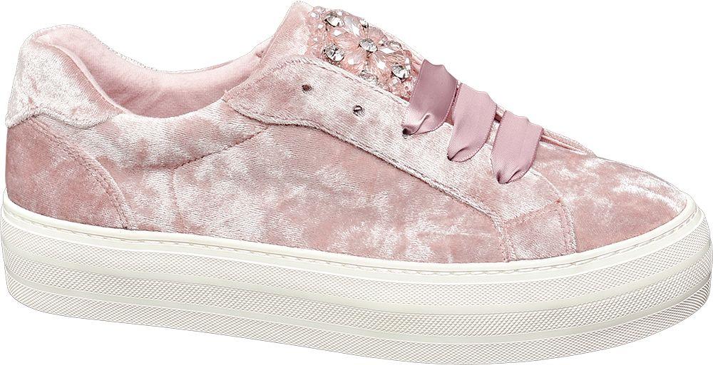 Deichmann - Graceland Sametové tenisky 36 růžová