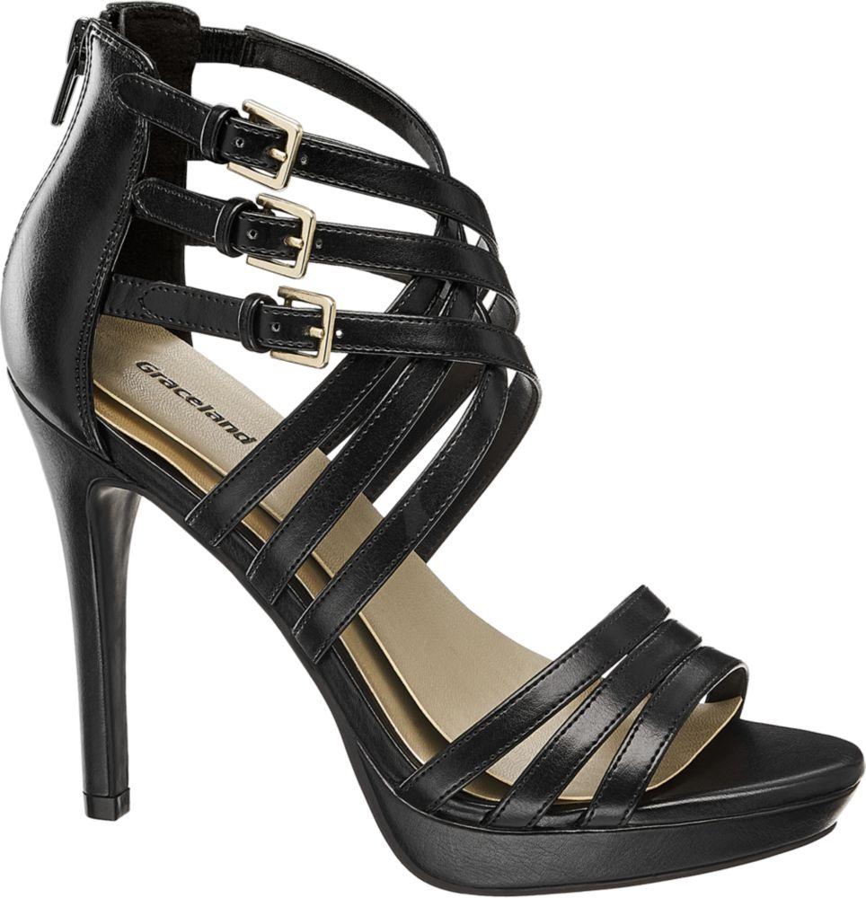 Graceland Sandály na podpatku  černá