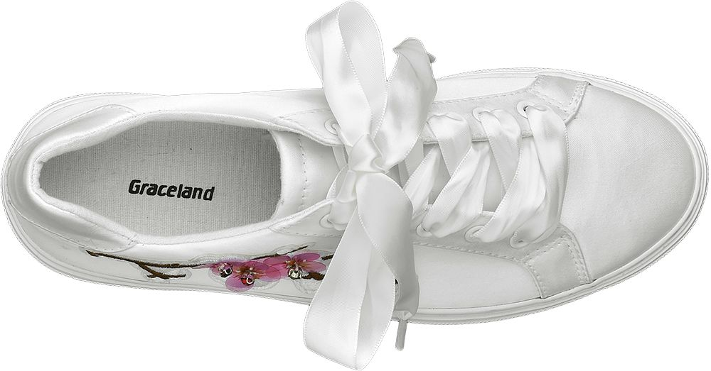 fe8b94bf0e Graceland Saténové tenisky na platformě bílá Graceland Saténové tenisky na platformě  bílá ...