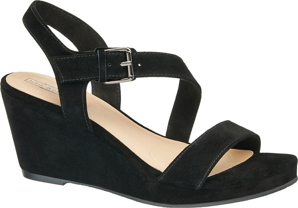 5th Avenue Semišové sandály na klínku  černá