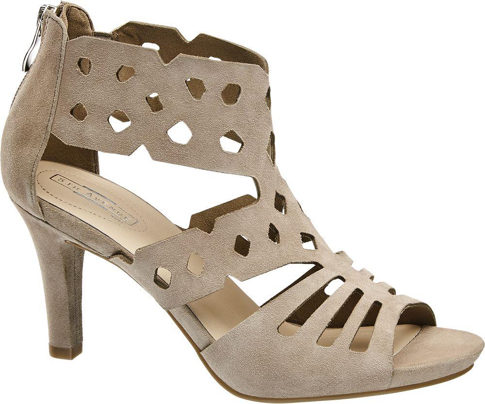 5th Avenue Semišové sandály  šedobéžová