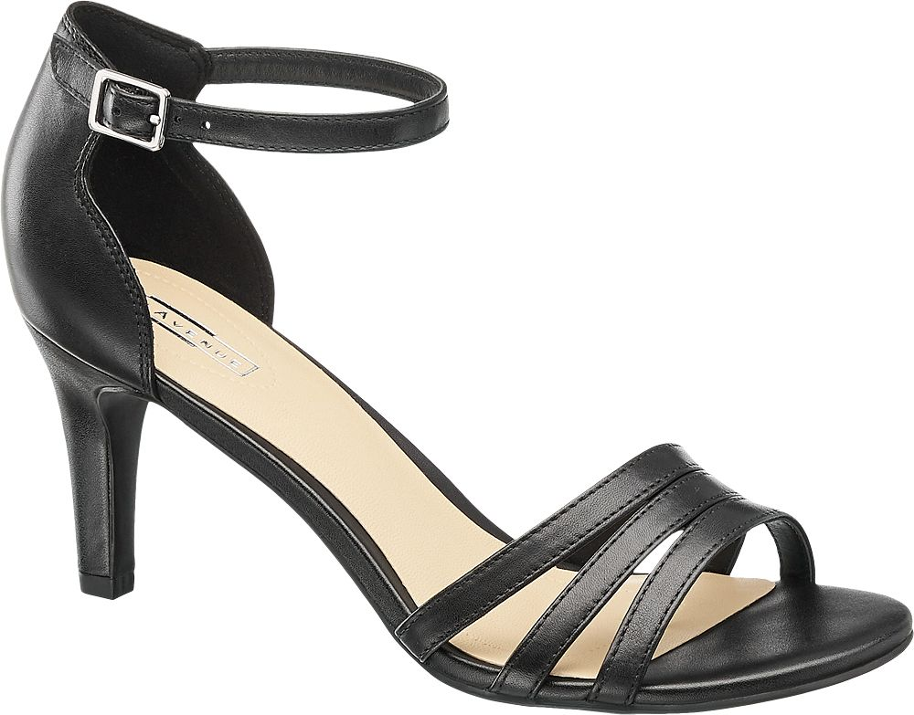 Sandałki na obcasie 5th Avenue czarne