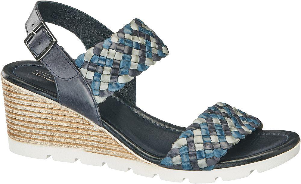 Sandały na koturnie 5th Avenue niebieskie