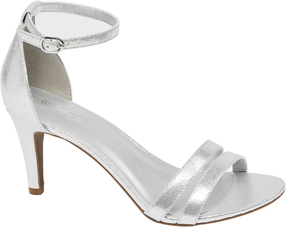 Sandałki na obcasie Graceland srebrne
