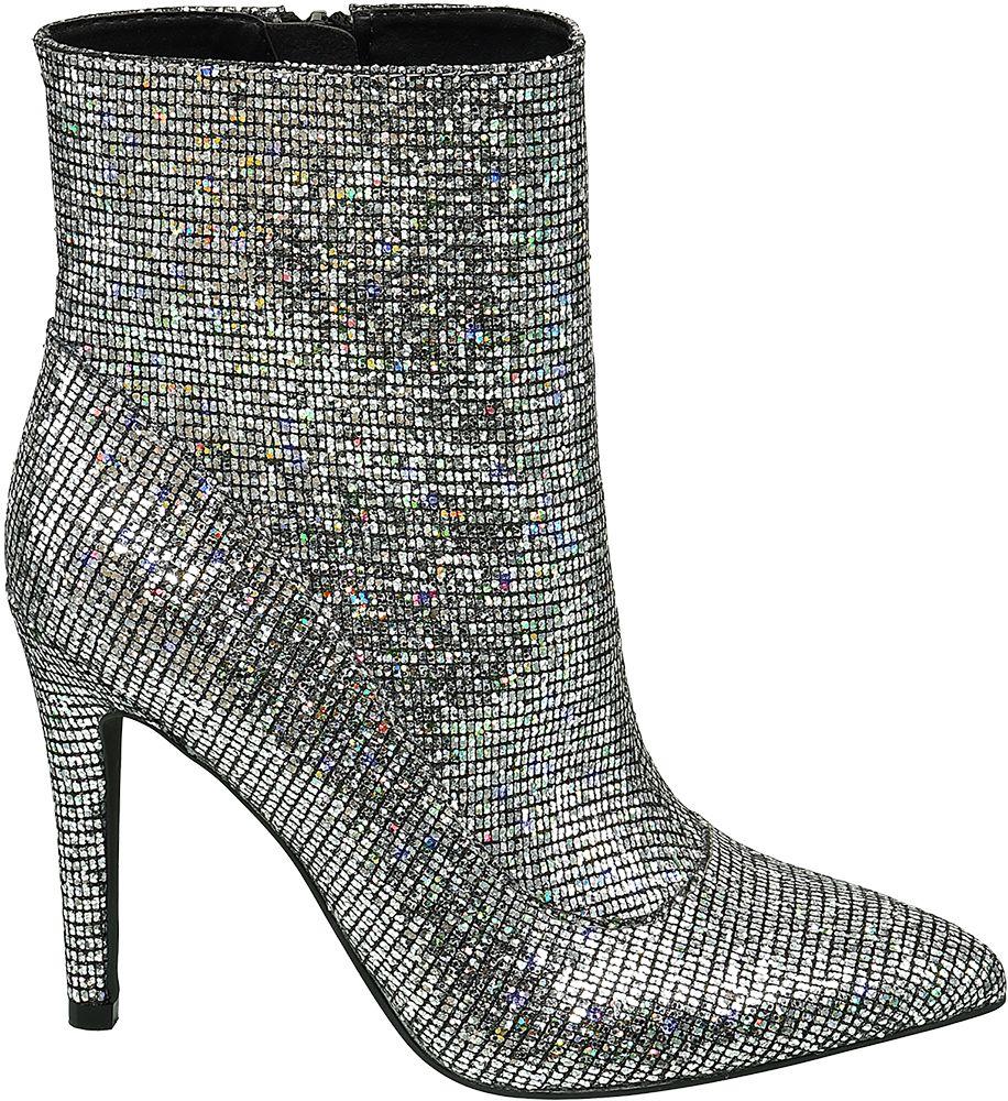 Deichmann - Star Collection Stříbrné nízké kozačky Rita Ora 40 stříbrná