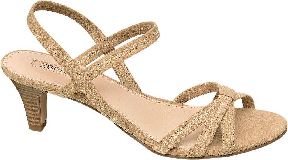 beżowe sandałki damskie Esprit na obcasie