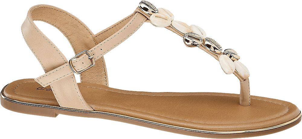 beżowe sandałki damskie Graceland ozdobione muszelkami