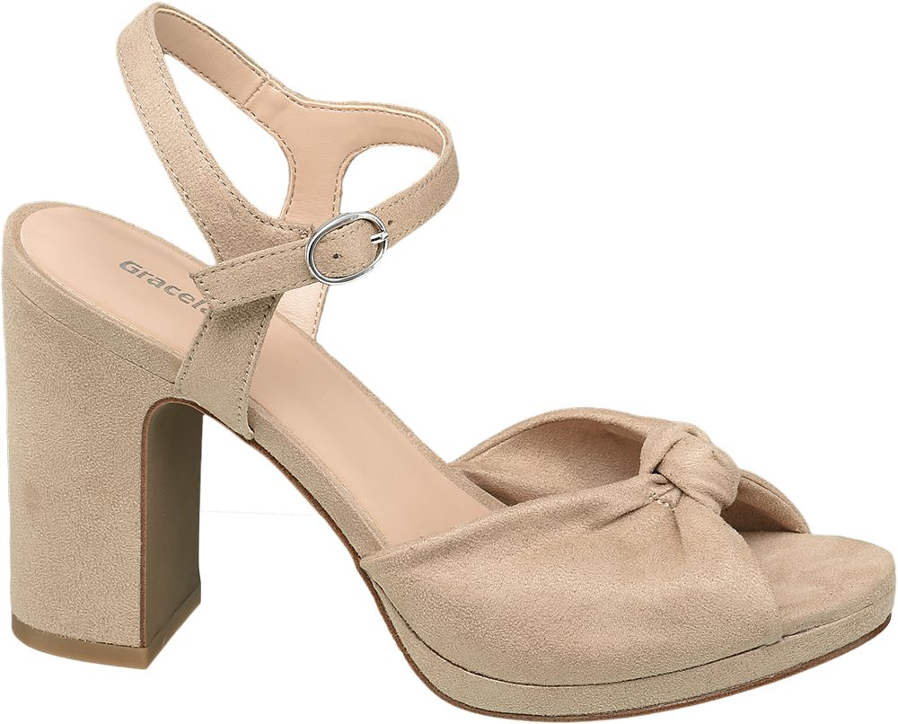 beżowe sandały damskie Graceland na słupku