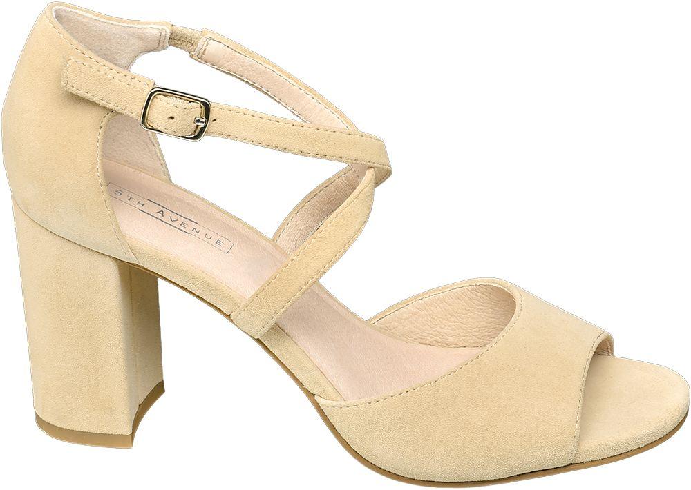 beżowe sandały damskie 5th Avenue na słupku