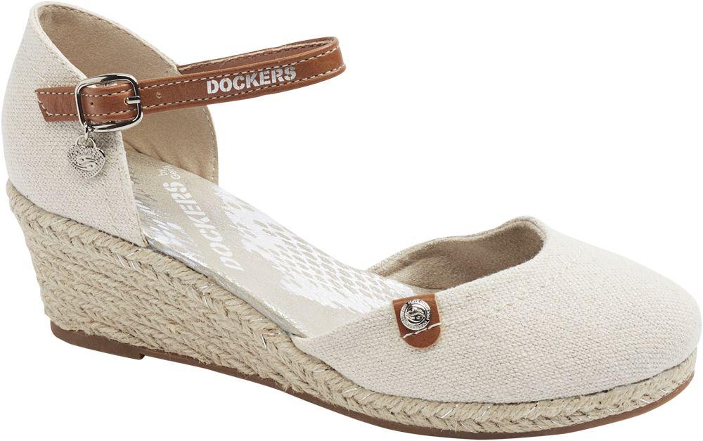 beżowe sandały na koturnie Dockers