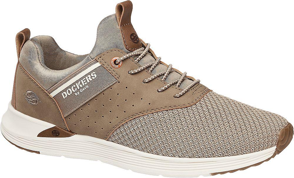 beżowe sneakersy męskie Dockers na białej podeszwie