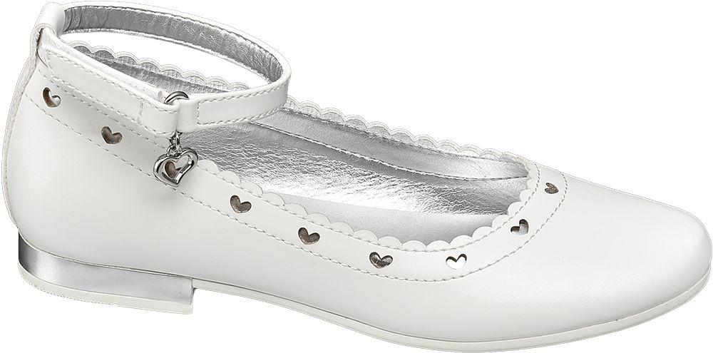 białe balerinki dziewczęce Graceland ozdobione srebrnymi serduszkami
