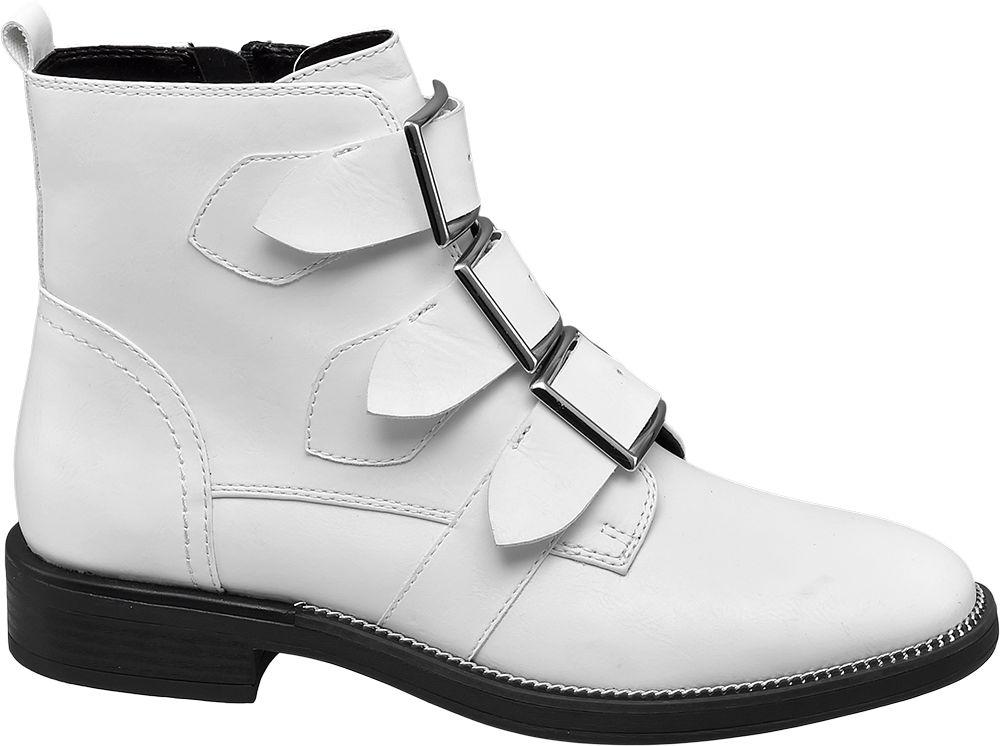 białe botki damskie Catwalk z trzema paskami