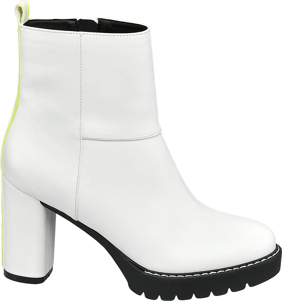 białe botki damskie Star Collection z neonowym akcentem