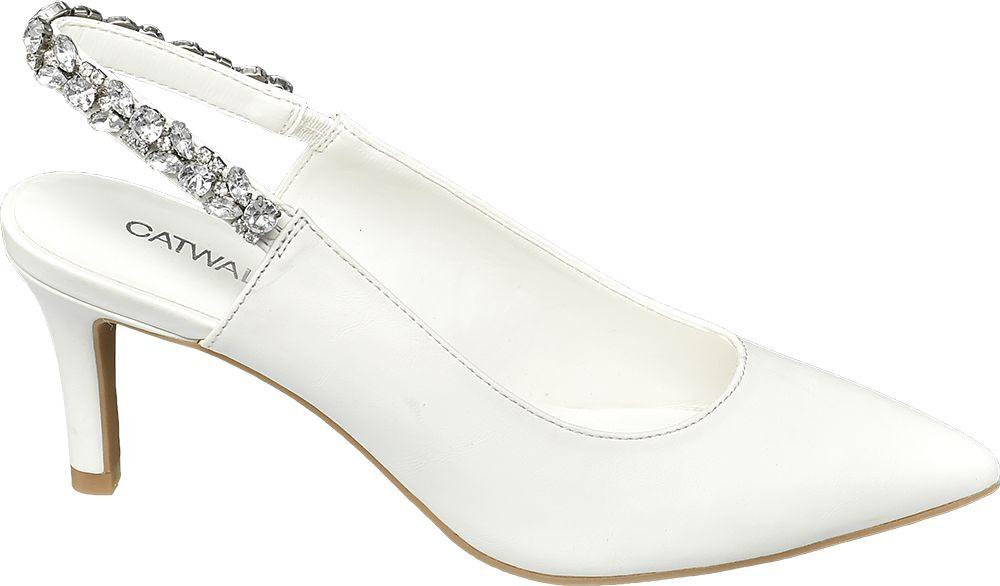 białe czółenka damskie Catwalk bez pięty