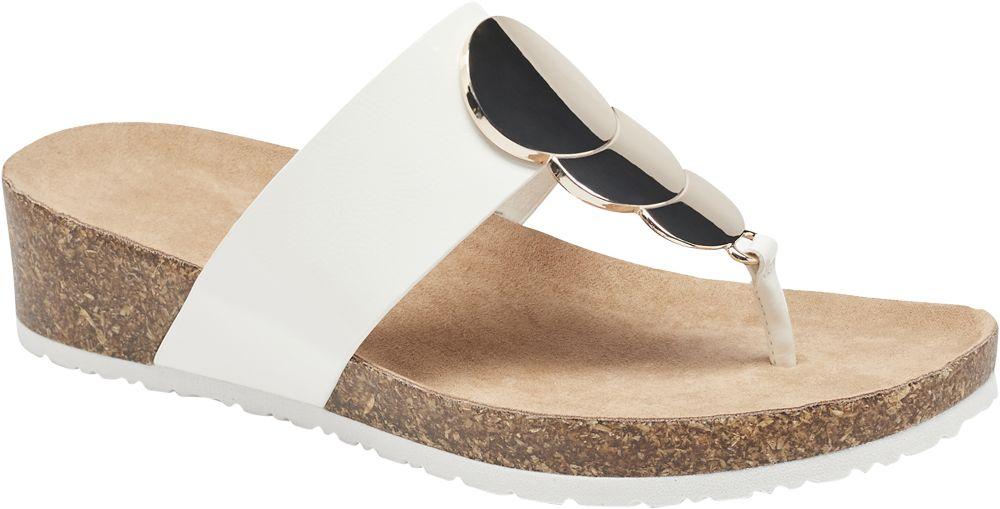 białe japonki damskie Graceland na grubszej podeszwie