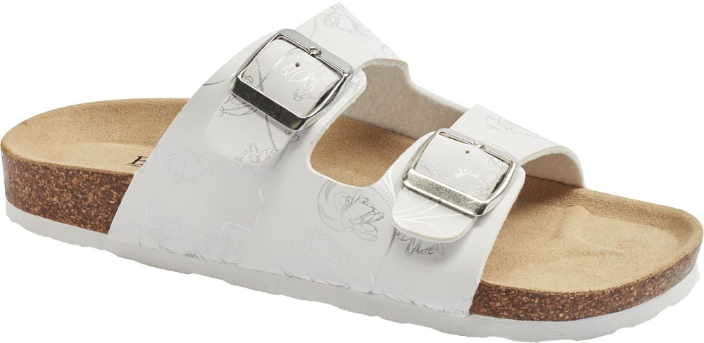 białe klapki damskie Björndal w srebrne wzory