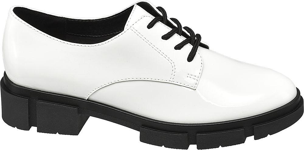 białe półbuty damskie Catwalk na czarnej podeszwie
