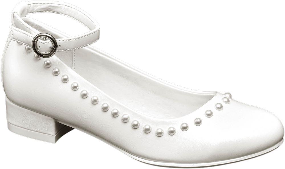 białe półbuty komunijne Graceland ozdobione perełkami