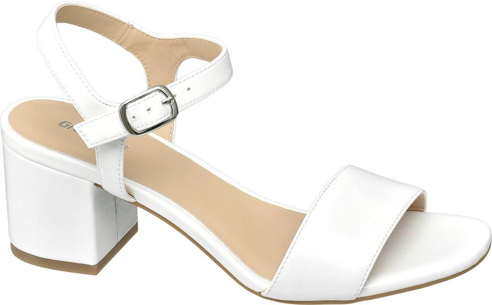 białe sandały Graceland na obcasie