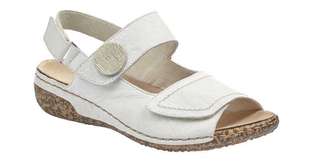 białe sandały damskie Riekier zapinane na rzepy