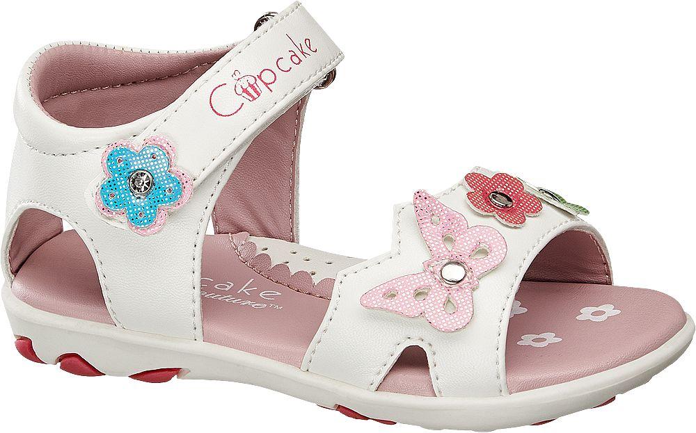 białe sandały dziecięce Cupcake Couture ozdobione kwiatkami