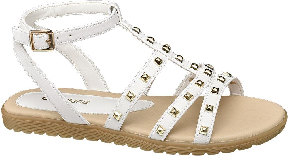 białe sandały dziewczęce Graceland ozdobione nitami