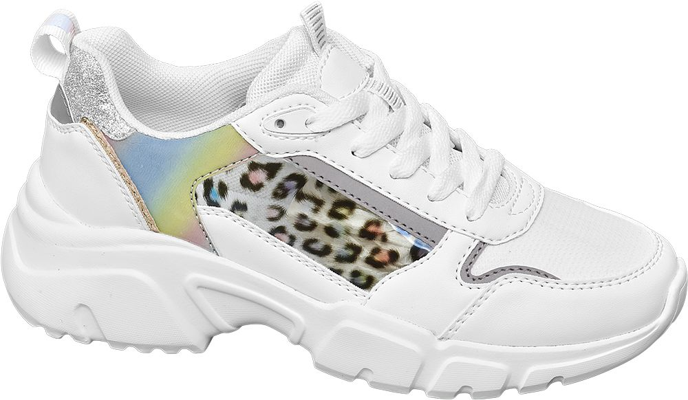 białe sneakersy Venice ze wstawką w cętki