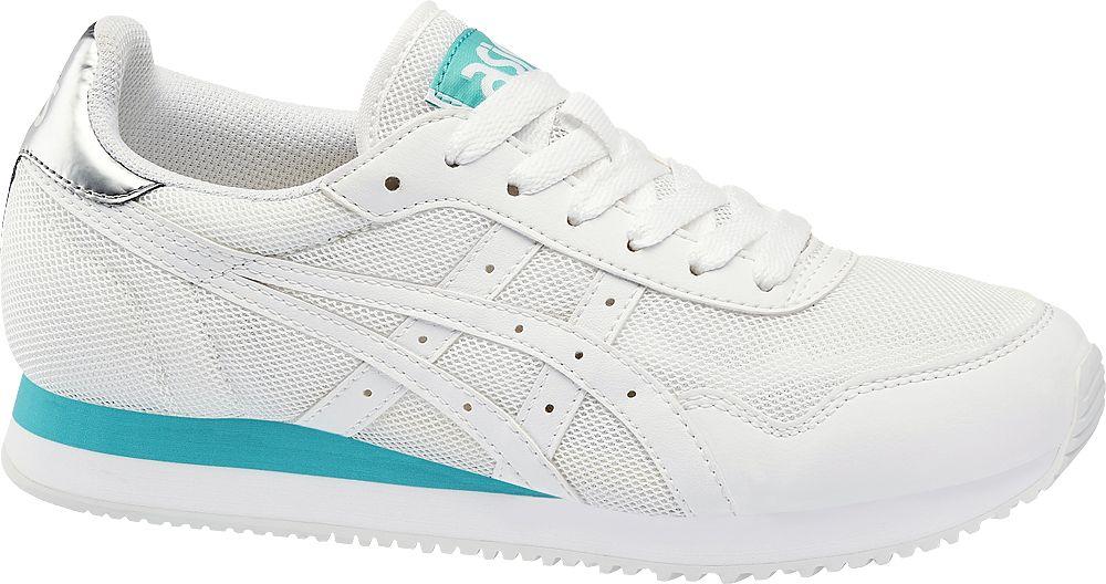 białe sneakersy damskie Asics z niebieskimi elementami